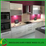 Gabinete de cozinha lustroso elevado moderno da laca do MDF da mobília da cozinha