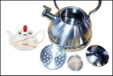 Chaleira de apito duplo com chifre de chá cerâmico Chaleira multifuncional