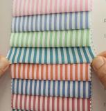 T/C de algodón poliéster Camiseta de rayas blusas estirar el tejido Spandex Lycra