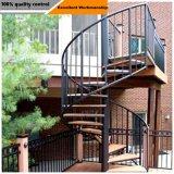 El lujo de madera de acero suave Escalera con pasamanos de cable de acero inoxidable