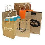 Impressão personalizada de compras de luxo a alça da portadora de embalagem de saco de papel