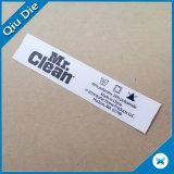 Color blanco de papel Tyvek Cuidado de la impresión de etiqueta para prenda