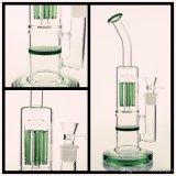 Livraison gratuite Bong de verre avec tuyau d'eau en verre vert Arbre du bras et une couche épaisse Honeycomb de base et l'embout buccal