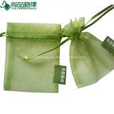 卸売によってカスタマイズされるオーガンザのギフトの袋の白く安く薄いドローストリング袋