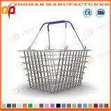 Panier à provisions en plastique de supermarché avec les roues (ZHb163)