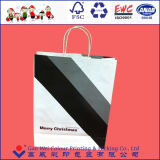 2016 reciclable de alta calidad personalizado impreso de Navidad Bolsa de papel Kraft