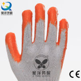 la palma del látex del trazador de líneas del algodón 10gauge cubrió los guantes del trabajo de la seguridad del algodón (L005)