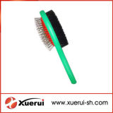 Cepillo de peluquería de doble lado para mascotas con mango de plástico