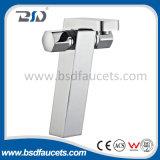 Faucet sanitário chapeado da bacia do banheiro dos mercadorias da alavanca cromo duplo de bronze