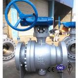 API6dの鋳造物鋼鉄Wcbの高圧ギヤによって作動させるトラニオンによって取付けられる球弁