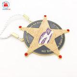 Nastro simbolico della medaglia della stella di scintillio del metallo promozionale