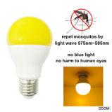 Repelente de mosquitos LED luminoso amarelo A60 9W E27 Luz da lâmpada LED