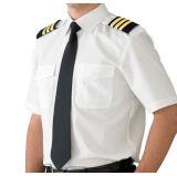 Camicia pilota uniforme bianca dell'azzurro di cielo con i Epaulets