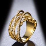 새로운 디자인 CZ 18K 황금 도금된 보석 반지