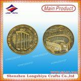 Monedas de plata antiguas con la insignia de encargo 3D