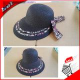 Paja de papel trenzado de papel de las mujeres Floppy Hat