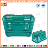 Le plastique de qualité traite le panier à provisions de supermarché avec les roues (ZHb162)