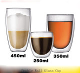Tazza di vetro doppia di resistenza fredda e di calore con sughero di legno