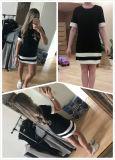 Дамы повседневный мини платье черно-белый пэтчворк стиль одежды круглой горловины короткие втулки платья