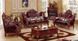 Muebles de madera Handcaved antique home Sofá de cuero