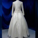 Lange Hülsen-Spitze-wulstiges moslemisches Brautkleid-Hochzeits-Kleid