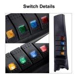 Linke Hand ein Pfosten-Schalter-Panel-Installationssatz mit 4 LED-Boots-Wippenschalter für Jeep07-15 Wrangler Jk