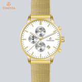 Montre faite sur commande de luxe 72375 de logo de bande en acier d'hommes de montre-bracelet neuve