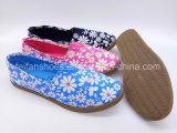 余暇の注入のズック靴の女性(FZL822-12)のための平らな慰めのスニーカーの靴