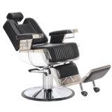Salon-Herrenfriseur-Stuhl mit Edelstahl-Armlehnen-und Aluminium-Pedal