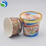 使い捨て可能な2oz 10oz 16ozの習慣によって印刷されるフローズンヨーグルトのペーパーアイスクリームのコップ