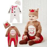 La combinaison Footies, longue salopette infantile et d'enfant en bas âge de bébé de chemise de Noël équipe des vêtements avec le chapeau, vêtement de gosse de vêtements d'enfants