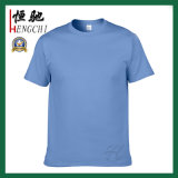 Großhandelsmann-Baumwollnormales Himmel-Blau-T-Shirt 100%