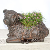 Flowerpot decorativo domestico di colore della ruggine di struttura della magnesia della Cina