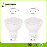 Bewegungs-Fühler + AN/AUS-LED Scheinwerfer der hellen der Fühler-intelligenten Selbstdrehung-Glühlampe-GU10 5W LED