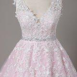 우아한 분홍색 소매 없는 결혼 예복이 새로운 Arrival에 의하여 Vestido De Noiva Lace 무도회복 아플리케를 한다