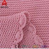 Mantas suaves recién nacidas hechas a mano 100% del bebé del color sólido del algodón del ganchillo de la promoción