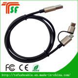 8pin /Micro/Type-C Contector를 가진 1개의 충전기 USB 케이블에 대하여 3