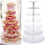 取り外し可能な6つの層の円のコップのケーキラック円形のアクリルのカップケーキの陳列台