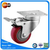 Charge moyenne de 3 pouces avec freins de PU de pivotement des roues de la capacité de 100 kg