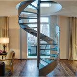 Escadaria espiral interna de vidro moderna do aço inoxidável da balaustrada dos trilhos