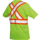 T-shirt r3fléchissant bon marché de bande de sécurité routière de vêtements de travail de visibilité élevée en gros