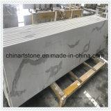 Venda por grosso de pedra artificial Calacatta Branco Laje de quartzo de bancada e vaidade topo