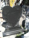 까만 Polished 교차하는 묘비 두 배와 단 하나 기념물