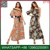 China-Hersteller-Großverkauf-Frauen-Blumendruck-langes Kleid für Sommer