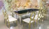 Tableau dinant reflété de luxe en verre Tempered d'acier inoxydable d'or premier