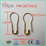 Pin de seguridad de acero clasificado formado bulbo de los colores de la venta al por mayor 22m m para la etiqueta colgante