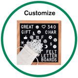 Amazon fieltro negro intercambiable personalizado carta junta con el bastidor de madera