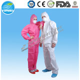 처분할 수 있는 백색 PP 짠것이 아닌 작업복 또는 작업복 또는 Worksuit 또는 보호의