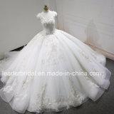 Les robes de bille de Quinceanera de V-Collet ont perlé les robes de mariage gonflées de lacet en cristal réel de photos Z3013