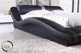 流行デザイン最上質の黒い革ベッド
